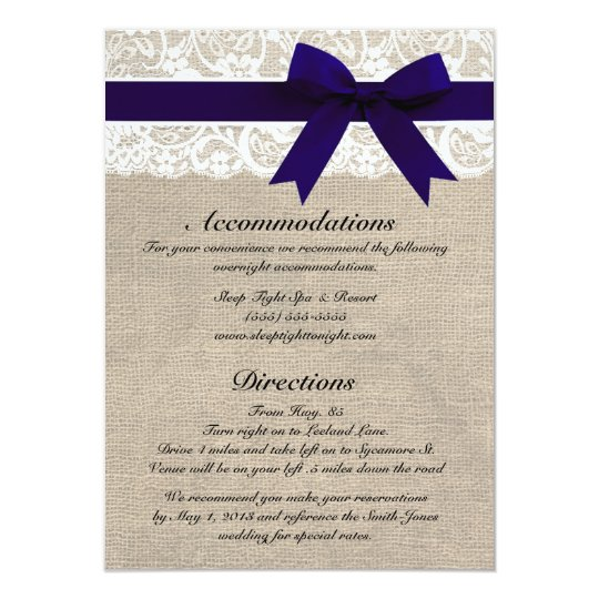 Custom Navy & White Lace Accommodations/Directions Card