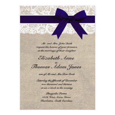 Custom Navy & White Lace & Burlap Wedding Invite
