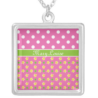 Custom Necklace: Primroses and Polkas on Deep Pink Silver Plated Necklace