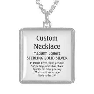 Custom Necklace - SOLID SILVER, Medium Square