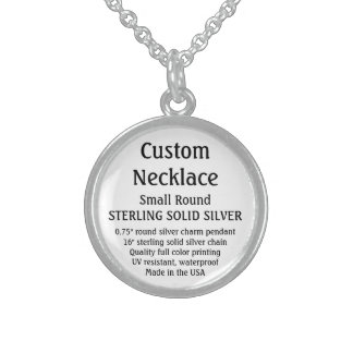 Custom Necklace - SOLID SILVER, Small Round