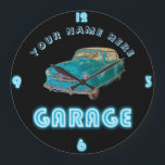 "Custom NEON GARAGE Clock ADD Business Name Cars<br><div class=""desc"">This fun and trendy clock makes a great gift. You can edit the template fields using the customize or personalize tab. ____________________________________________________________________________ 1. For assistance, custom design or matching items (view the collection attached ) contact Designer LeahG via the contact tab below. ____________________________________________________________________________ 2. For updates on the latest trending...</div>"