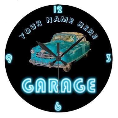 Custom NEON GARAGE Clock ADD Business Name Cars