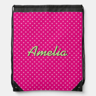 Custom neon pink polkadots drawstring bag for girl