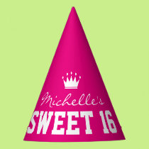 Custom neon pink SWEET 16 Birthday party hats