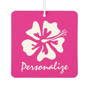 Beach Themed Custom neon pink tropical flower car air freshener