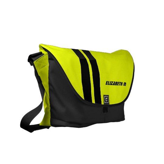 Custom Neon Yellow/Black Racing Stripe Messenger Messenger Bag