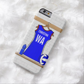 Custom Netball Uniform Blue with Red  and White Barely There iPhone 6 Case