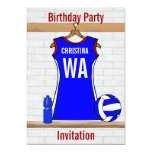 Custom Netball Uniform  Blue with red and White Card