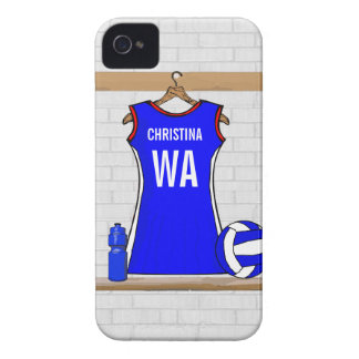 Custom Netball Uniform Blue with Red  and White Case-Mate iPhone 4 Case