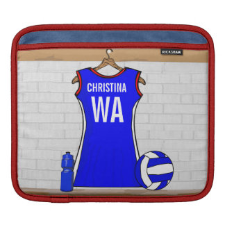 Custom Netball Uniform Blue with red and White iPad Sleeve