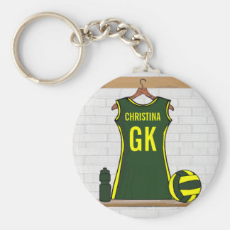 Custom Netball Uniform Green with Yellow Keychain