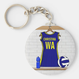 Custom Netball Uniform Navy yellow Keychain