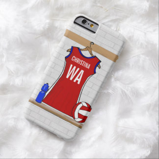 Custom Netball Uniform Red with Blue and White Barely There iPhone 6 Case