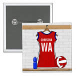 Custom Netball Uniform Red with Blue and White Button