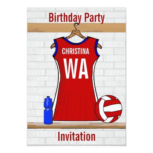 Custom Netball Uniform Red with Blue and White Card