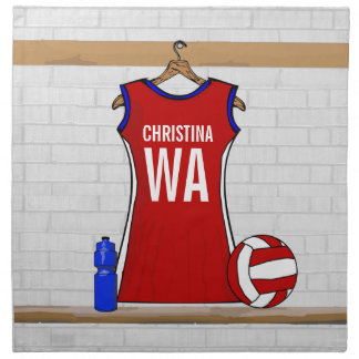Custom Netball Uniform Red with Blue and White Cloth Napkin