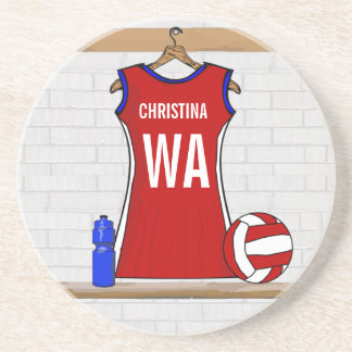 Custom Netball Uniform Red with Blue and White Coaster