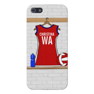 Custom Netball Uniform Red with Blue and White Cover For iPhone 5