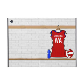 Custom Netball Uniform Red with Blue and White Covers For iPad Mini