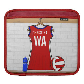 Custom Netball Uniform Red with Blue and White iPad Sleeve