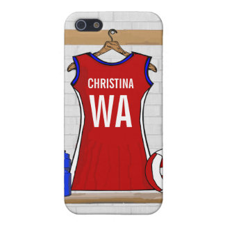 Custom Netball Uniform Red with Blue and White iPhone 5/5S Cover