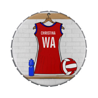 Custom Netball Uniform Red with Blue and White Jelly Belly Candy Tins