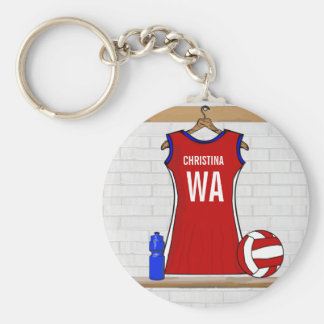 Custom Netball Uniform Red with Blue and White Keychain