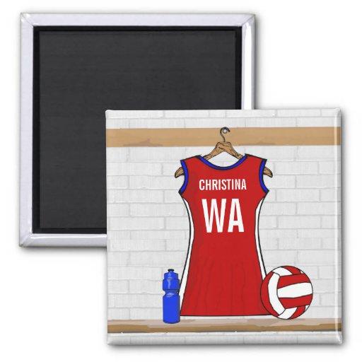 Custom Netball Uniform Red with Blue and White Fridge Magnet