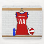 Custom Netball Uniform Red with Blue and White Mousepad