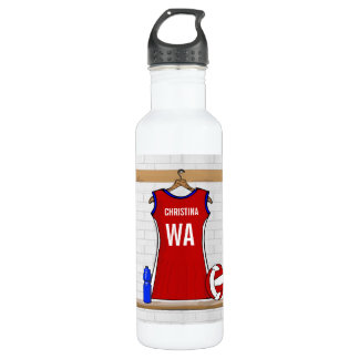 Custom Netball Uniform Red with Blue and White 24oz Water Bottle
