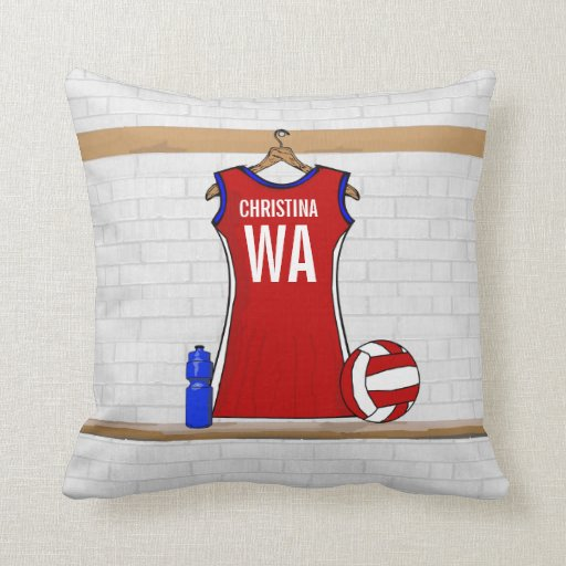 Custom Netball Uniform Red with Blue and White Pillow