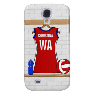 Custom Netball Uniform Red with Blue and White Samsung Galaxy S4 Case