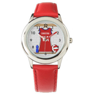 Custom Netball Uniform Red with Blue and White Watch