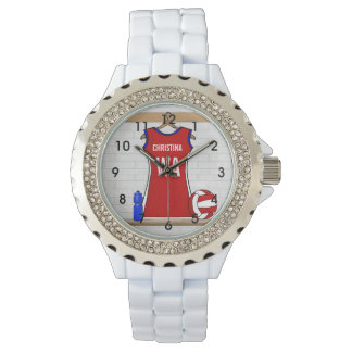 Custom Netball Uniform Red with Blue and White Wristwatch