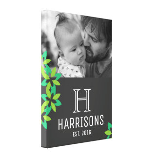 Custom New Dad Photo | Family Name and Monogram Canvas Print