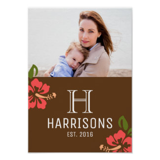 Custom New Mom Photo | Name and Monogram | Floral Poster