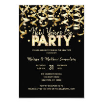 Custom NEW YEAR'S EVE PARTY Gold Black Card