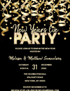 custom new years eve party gold black invitation