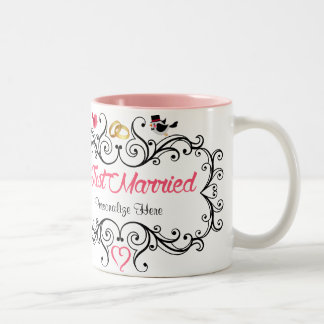 Custom Newlywed Bride and Groom Two-Tone Coffee Mug