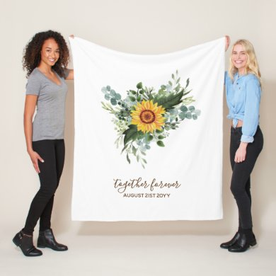 Custom Newlyweds Rustic Sunflowers Eucalyptus Leaf Fleece Blanket