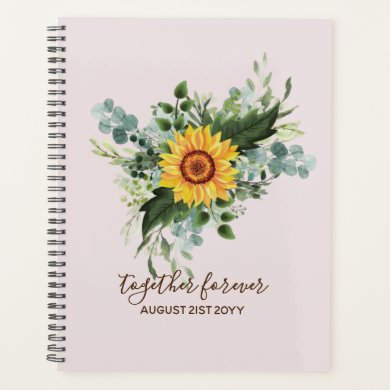 Custom Newlyweds Rustic Sunflowers Eucalyptus Leaf Planner