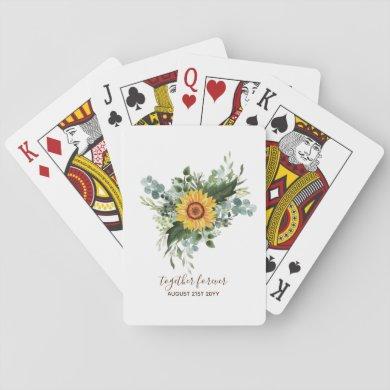 Custom Newlyweds Rustic Sunflowers Eucalyptus Leaf Playing Cards