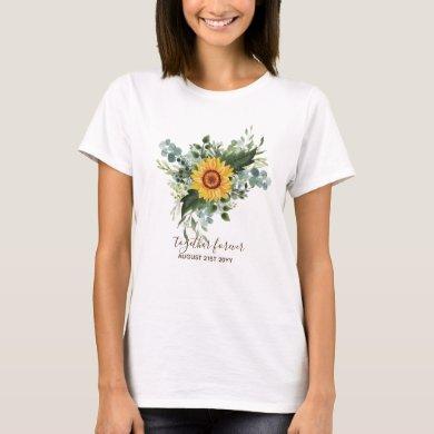 Custom Newlyweds Rustic Sunflowers Eucalyptus Leaf T-Shirt