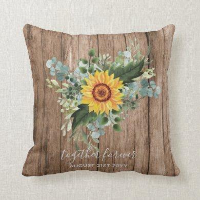 Custom Newlyweds Rustic Sunflowers Eucalyptus Leaf Throw Pillow