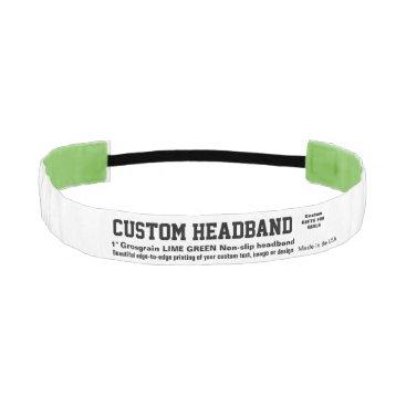 """USA Themed Custom Non-slip 1"""" Headband LIME GREEN Grosgrain"""