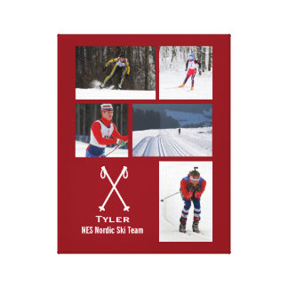 Custom Nordic Cross Country Skiing Photo Collage Canvas Print