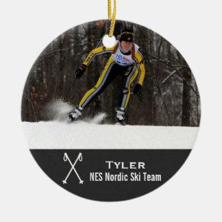 Custom Nordic Cross Country Skiing Photo Collage Ceramic Ornament