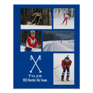 Custom Nordic Cross Country Skiing Photo Collage Poster