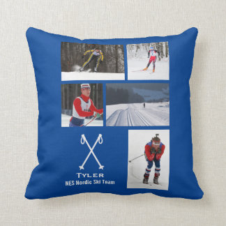 Custom Nordic Cross Country Skiing Photo Collage Throw Pillow